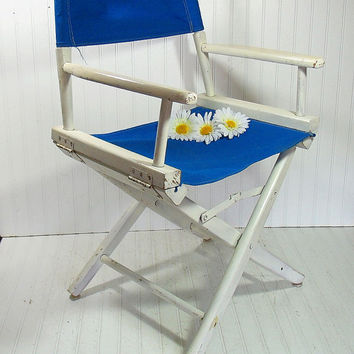 Vintage Wood & Canvas Director's Chair - Chippy White Paint with Royal Blue Canvas Fabric Folding Furniture - Ready to Repurpose / Upcycle