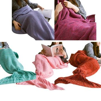 New Fashion Knitted Mermaid Tail Blanket Handmade Crochet Adult Bed Wrap Soft Sleeping Bag Blankets  HG99