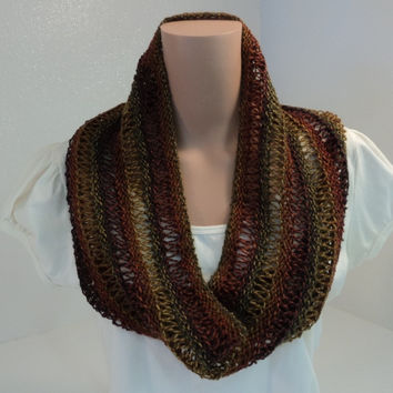 Handcrafted Cowl Wrap Brown Gold Green Drop Stitch Merino Wool Nylon Female -- New No Tags