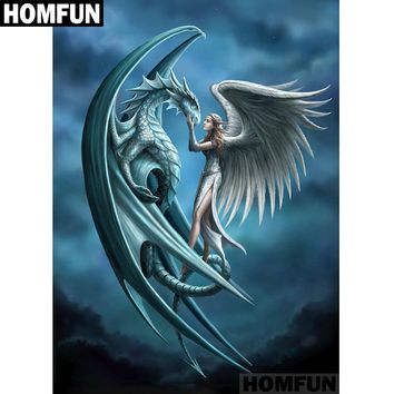"HOMFUN Full Square/Round Drill 5D DIY Diamond Painting ""Dragon & Angel"" Embroidery Cross Stitch Mosaic Home Decor Gift A01141"
