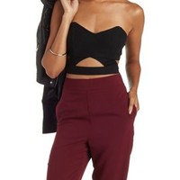 Black Strapless Crisscross Cut-Out Crop Top by Charlotte Russe