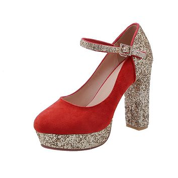 Super High-heeled Buckle Bridal Shoes Sequined Platform Pumps
