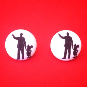 "Handmade ""Walt & Mickey"" Disney Inspired Silhouette Earrings - Walt Disney and Mickey Mouse Fabric Button Earrings"
