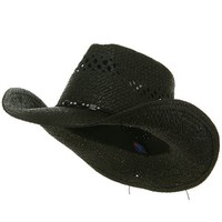 MG Womens Straw Outback Toyo Cowboy Hat (Black)
