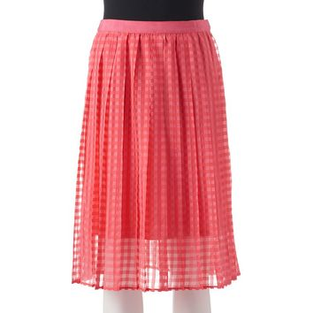 ELLE Checkered Midi Organza Skirt