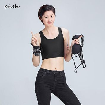 PHSH Lesbian Tomboy Short  mesh Breathable  Chest Binder No trace Buckle Top Trans Strengthen Corset Vest Cosplay Hide Breast