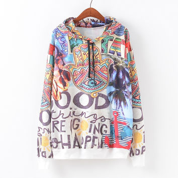 Women's Fashion Print With Pocket Casual Pullover Hoodies [9101518151]