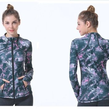 New yoga fitness clothing female aerobics running fitness zipper long sleeve sports jacket spring and autumn quick-drying dance