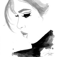 Original watercolor and pen fashion illustration by Jessica Durrant titled Fade into You