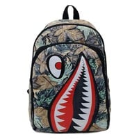 Shark Mouth Fashion Women Men New Cartoon Double Shoulder Bag Travel Backpack Personalized Canvas School Bag