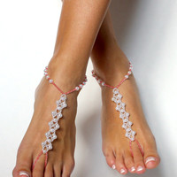 Beach Wedding Pearl Handmade Barefoot Sandals Coral Bridesmaids Gift Custom Anklet Shoeless Sandals Soft Pink