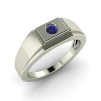 Sapphire Men's Ring in 14k White Gold | 0.14 ct. tw. | Round Cut | Jace | Diamondere