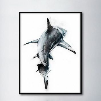Nordic Minimalist Shark Backs Decorative Paintings Modular Picture Wall Art Canvas Painting for Living Room No Framed