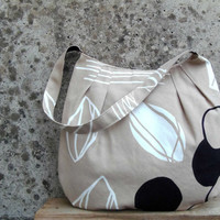 Sand handbag with black and white print. Medium size fabric bag. Tulip Bag