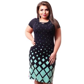 High Quality Summer Casual O-neck Plus Size Bodycon Dress