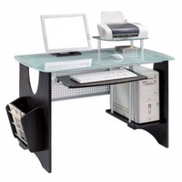 Frosted Tempered Glass Computer Desk Espresso Finish With Side Magazine Rack New