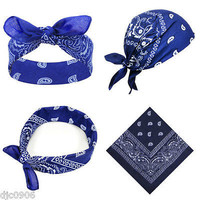 Navy Blue Paisley Bandana Double Sided Head Wrap Scarf Wristband-New!