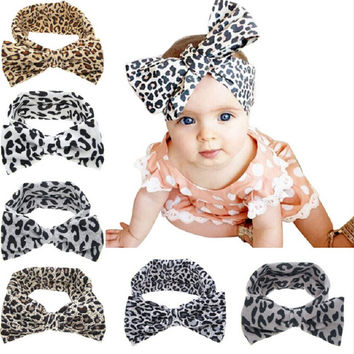 Kawaii Girls Kids Baby Soft Cotton Bow Hairband Leopard Headband Stretch Turban Knot Head Wrap Hair Band Accessories