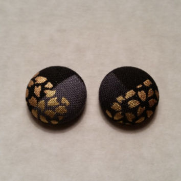 Black and Gold Patterned fabric covered button earrings