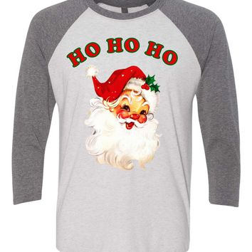 HoHoHo Vintage Santa Baseball Tee, Merry CHristmas Happy Holidays Shirt Xmas Party, Christmas Morning
