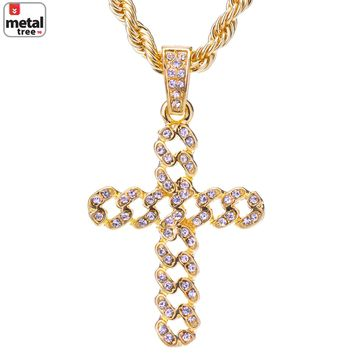 "Jewelry Kay style Men's 14k Gold Plated Iced Out Cross Pendant Rope Chain Necklace 24"" HC 1122 G"