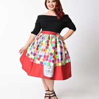 Unique Vintage Plus Size 1950s Red & Multi Gumball Machine High Waist Swing Skirt