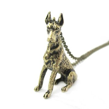 Realistic Doberman Pinscher Puppy Dog Shaped Animal Pendant Necklace in Brass