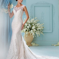 Wedding Dress 2017 Elegant Cap Sleeve Lace Mermaid Wedding dresses Appliques Sheer Back Vintage Wedding Gown Vestido de noiva