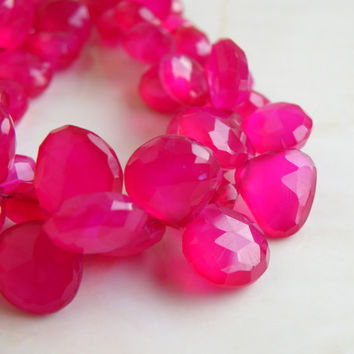 42% Off Hot Pink Fuchsia Chalcedony Gemstone Faceted Heart Briolette Top Drilled 10.5mm 12 beads 1/4 Strand