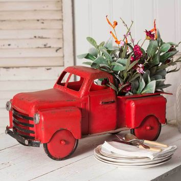 Red Metal Truck Flower Planter Vintage Inspired Indoor /Garden Art