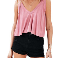 Tie Strap Cropped Tank Top