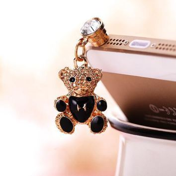Cute teddy bear dust plug nice phone ear plug fashion phone accessories