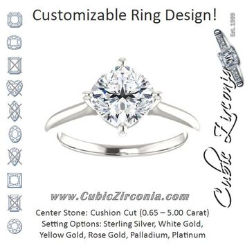 Cubic Zirconia Engagement Ring- The Adora (Customizable Cushion Cut Solitaire with Raised Prong Basket)