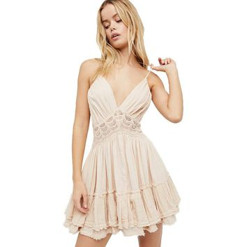 Summer Sexy V-neck Party Women Dress Casual Halter Strap  Sleeveless Cascading Ruffle Mini A-Line Dresses Vestidos Clothing