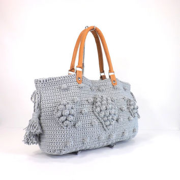 SALE Gerard Darel Dublin Style Handbag with Genuine Leather Handles,  Crochet bag, Tote, Purse, Gift Idea