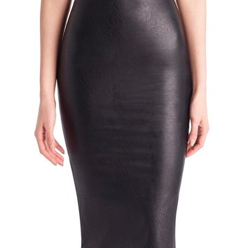 Commando Black Faux Midi Leather Skirt