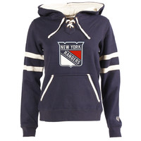 Women's New York Rangers Old Time Hockey Navy Blue Grant Lace-Up Slim Fit Hoodie