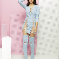 DOUBLE CROSSER LACE UP DENIM DRESS