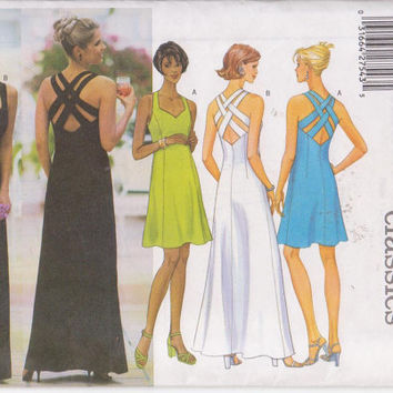Pattern for fitted special occasion cocktail dress with back straps in knee or floor length misses size 12 14 16 Butterick 5542 UNCUT