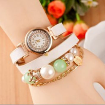Quartz Wrist Watch with Diamonds Beads Round Dial and Leather Watch Band for Women