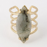 Open Oval Grey Stone Ring