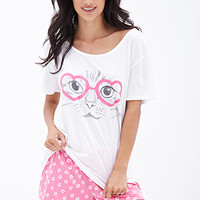 Kitty Heart PJ Set