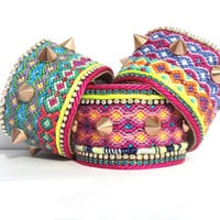 AW2012 Friendship bracelet cuff Spikes series - neon yellow and turquoise blue with rosé gold spikes - bohemian hippie statement cuff