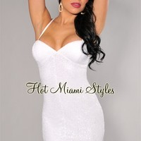 White Sequined Halter Mini Dress