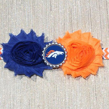 NFL Denver Broncos inspired headband- perfect for football season!  Denver Broncos Baby Headband, Denver Broncos Girl