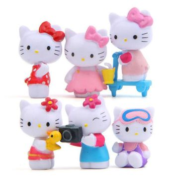 6pc Hello Kitty Toy Cute Kitten Diy Home Decor Cake Figurine Model Doll Children Toy Horse Room Decoration Furnishings Gift