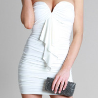 Kami Shade Ibiza White Ruffled Strapless Dress