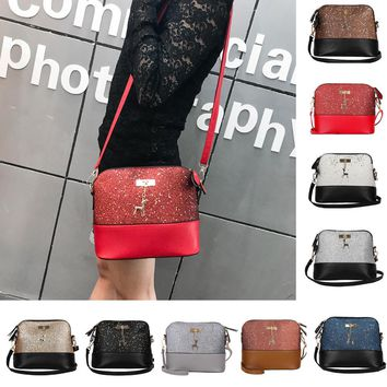 Leather Crossbody Sequined Bag