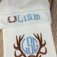 Baby Boy COMING HOME Outfit - Antler Monogram Bodysuit, Blue Personalized Baby Onesuit Bib Burp Cloth , Initial Monogram Newborn