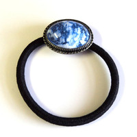 Antique Silver Bezel Ponytail Holder, 18x25mm Resin Blue White Clear Cab, Black Elastic Cord, Hair Tie